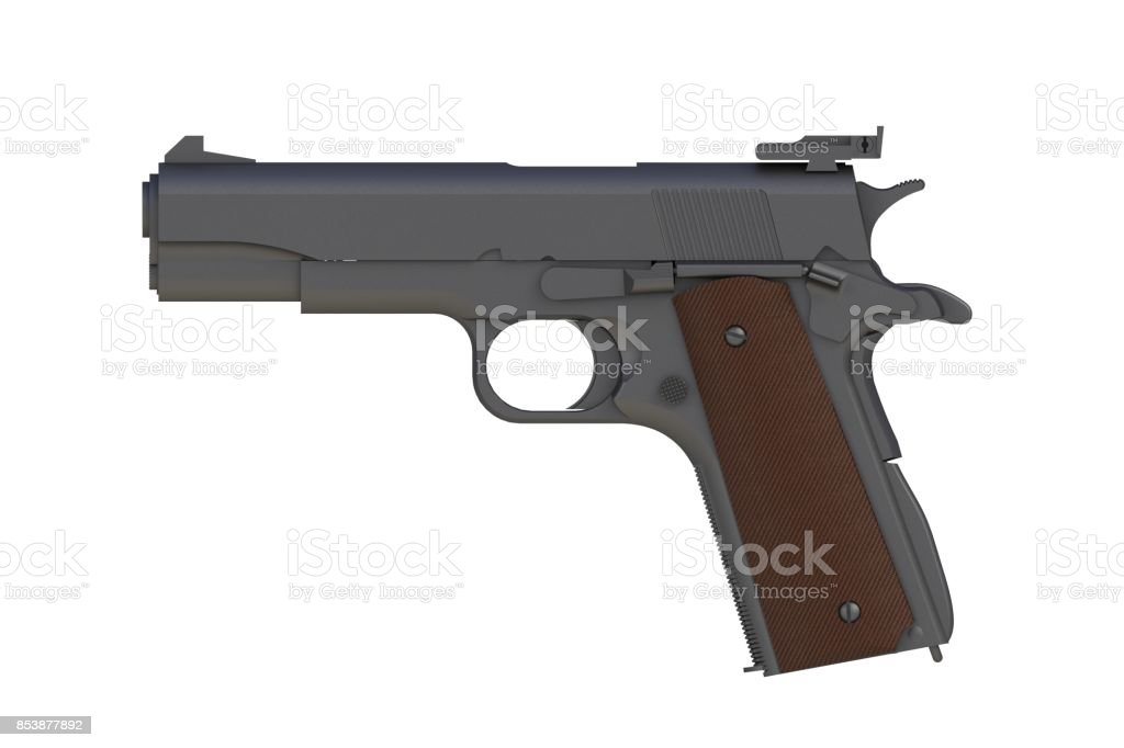 Beside view of matte iron M1911 semi-automatic .45 caliber pistol isolated on white background, 3D rendering stock photo