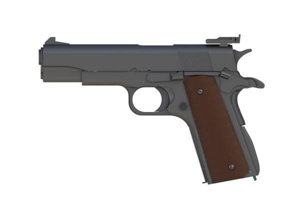 neben blick auf mattem eisen m1911 halbautomatische kaliber.45 pistole auf weißem hintergrund isoliert, 3d-rendering - pferdezeitschrift stock-fotos und bilder