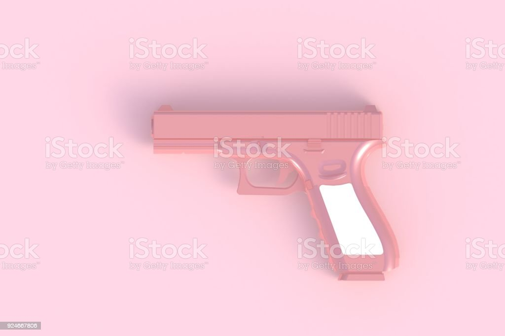 Beside view of pink semi automatic 9x19 handgun isolated on pink background, 3D rendering stock photo