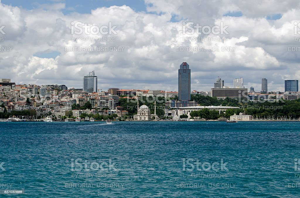 Besiktas Stadium viewed from the Bosphorus, Istanbul stock photo
