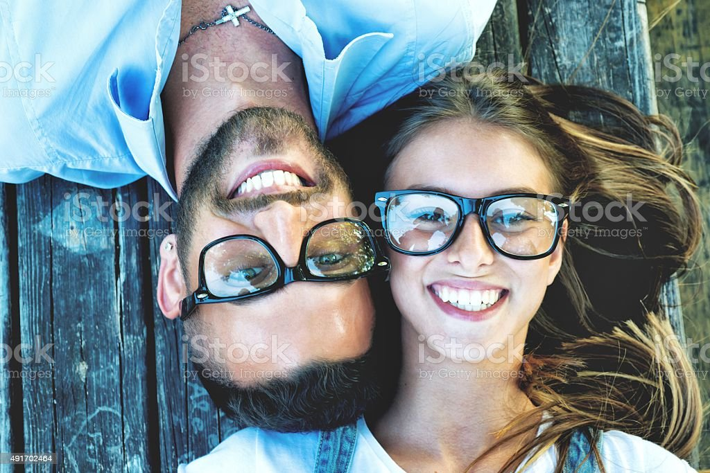 Bespectacled Couple Portrait stock photo