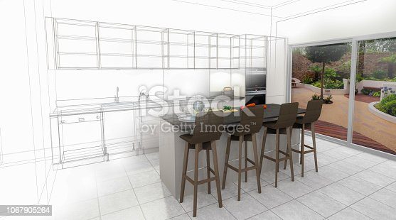 895150806 istock photo Bespoke Kitchen Design Drawing and Brushed In Photo Combination. 1067905264