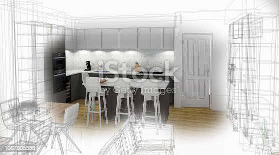 895150806 istock photo Bespoke Kitchen Design Drawing and Brushed In Photo Combination. 1067905338