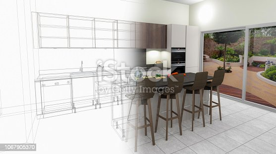 895150806 istock photo Bespoke Kitchen Design Drawing and Brushed In Photo Combination. 1067905370