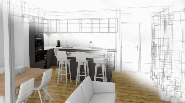 maßgeschneiderte küchendesign zeichnen und gebürstet foto zusammen. - küche neu gestalten ideen stock-fotos und bilder