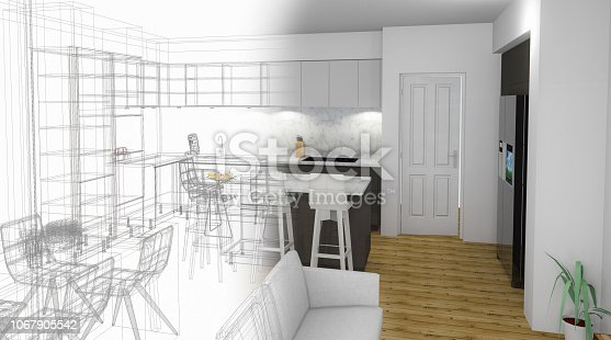 895150806 istock photo Bespoke Kitchen Design Drawing and Brushed In Photo Combination. 1067905542