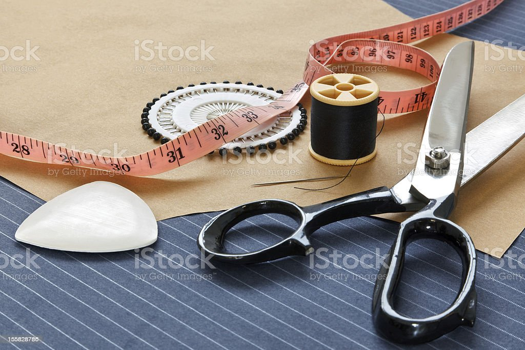Bespoke suit template and tools stock photo
