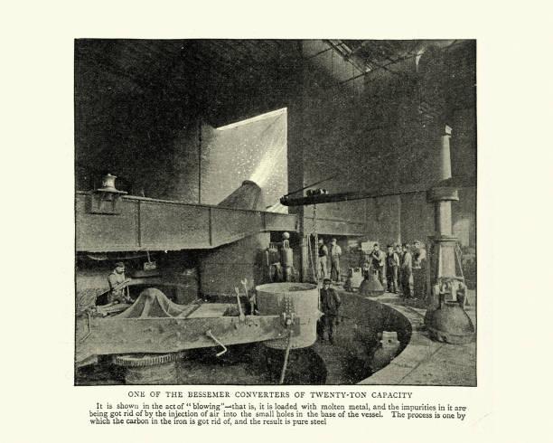 Bessemer-Konverter in Crewe-Eisenbahnwerken, 19. Jahrhundert – Foto