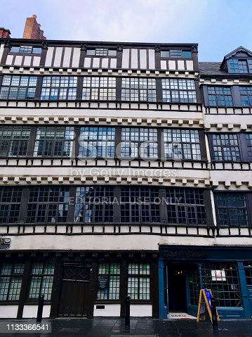 Newcastle Upon Tyne, England, UK - December 28, 2018: Hailing from the Jacobean era during the 16th to 17th centuries, Bessie Surtee's House is best known for the secret elopement of Bessie Surtees and John Scott.