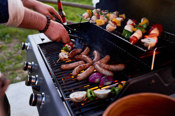 best bbq party - barbecue grill stock photos and pictures