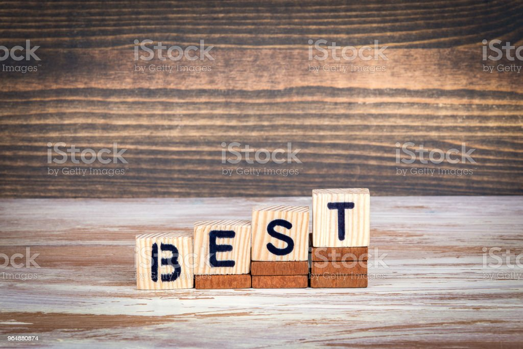 Best. Choice, practice or Service. Wooden letters on the office desk royalty-free stock photo