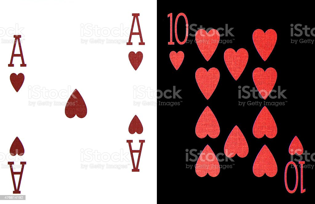 best classic blackjack combination ten and ace of hearts stock photo