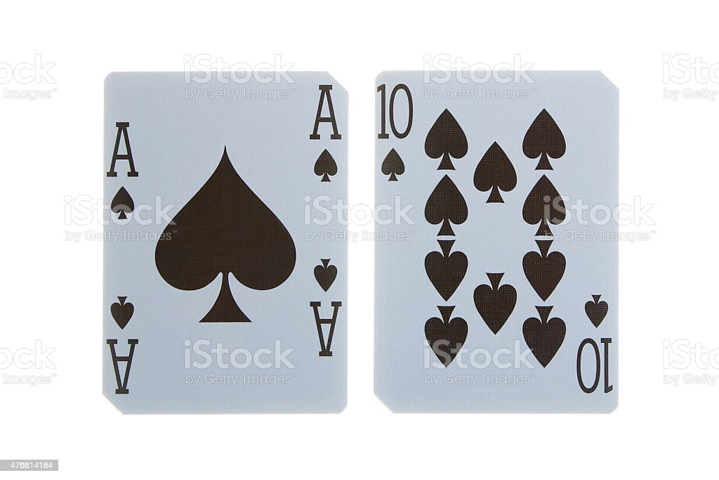 best classic blackjack combination ten and ace of spades stock photo