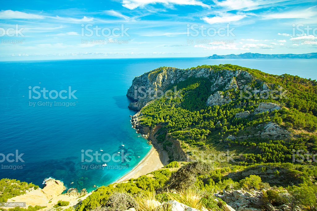 Best Coll Baix Mallorca Island Tropical Beach Panorama, Alcudia stock photo