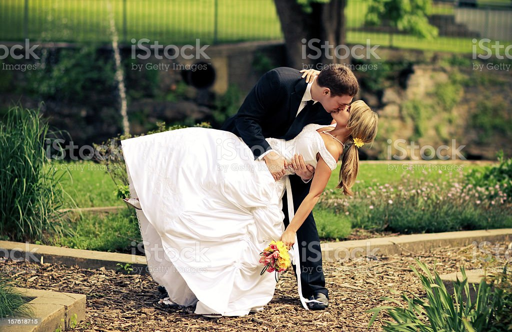 Best Couple Kissing Wedding Dress royalty-free stock photo