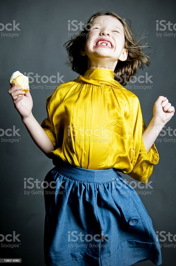 Best Cupcake Ever! Little Girl Portraits royalty-free stock photo