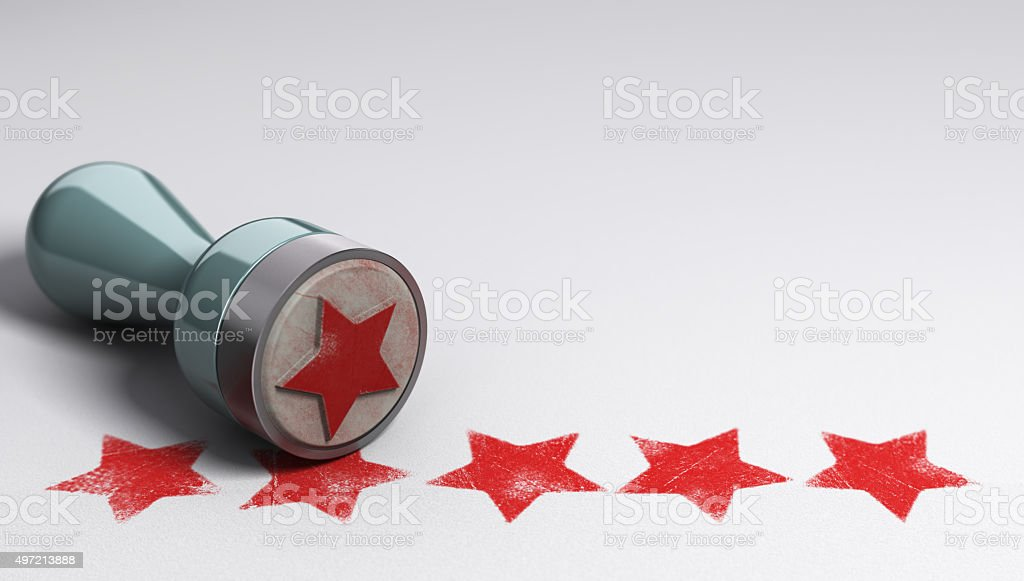 Best Customer Experience Rubber stamp over paper background with five stars printed on it. concept image for illustration of high customer experience and quality level 2015 Stock Photo