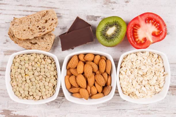 Best food as source melatonin and tryptophan. Healthy sleep concept stock photo
