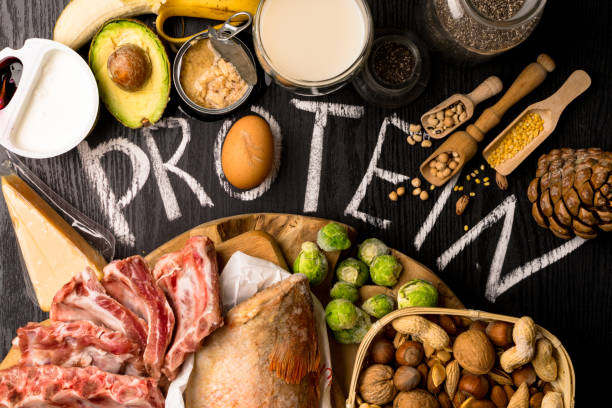 Best Foods High in Protein. Healthy eating and diet concept Assortment of healthy protein source and body building food. Meat pork, red fish eggs dairy products cottage cheese yogurt beans nuts lentils bean tuna banana . Top view protein stock pictures, royalty-free photos & images