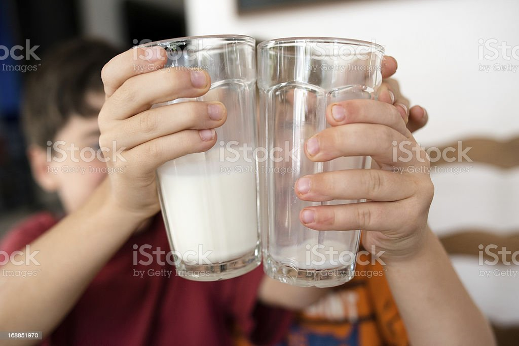 Best friends and milk royalty-free stock photo