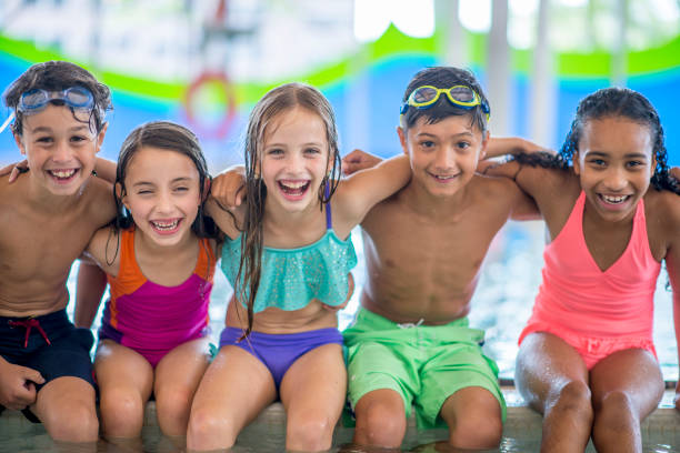 Best Friends At The Pool stock photo