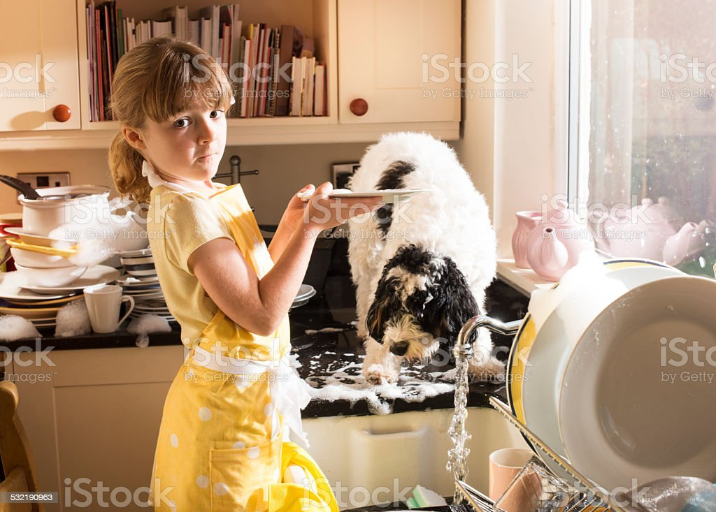 best friends do the dishes stock photo