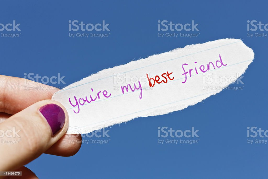 Best friends forever! Cute hand-drawn note promises friendship royalty-free stock photo