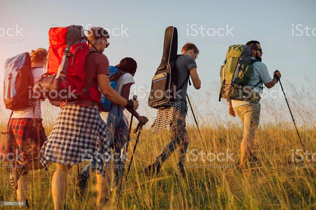 Best Friends Hiking Together. stock photo