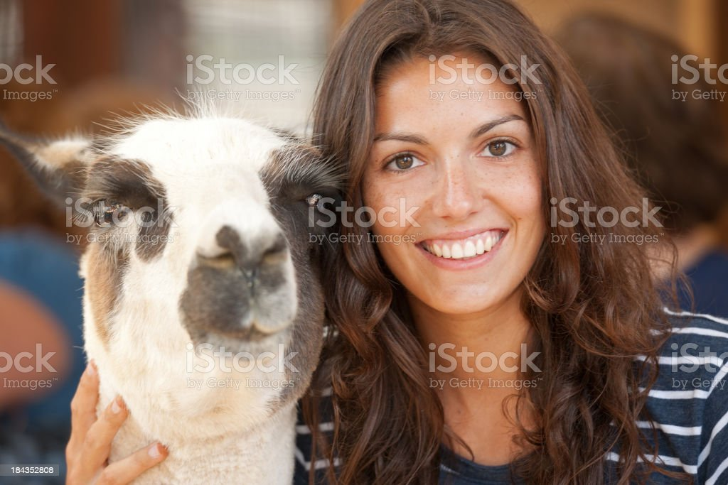 Best Friends, Lama and Girl Portrait royalty-free stock photo