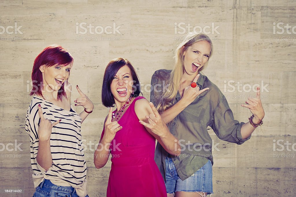 Best friends making funny faces stock photo