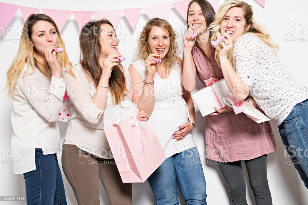 Best Friends On Baby Shower Party Celebrating Giving Kid Stuff As Present Stock Photo Download Image Now Istock