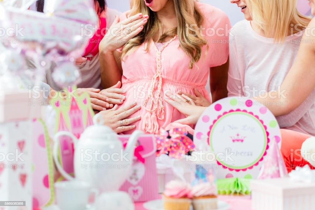 Best Friends On Baby Shower Party Celebrating Stock Photo