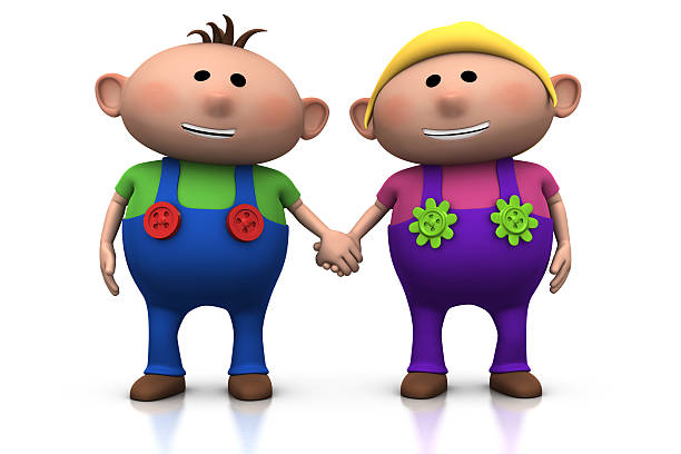 Royalty Free Cartoon Of A 2 People Holding Hands Pictures Images