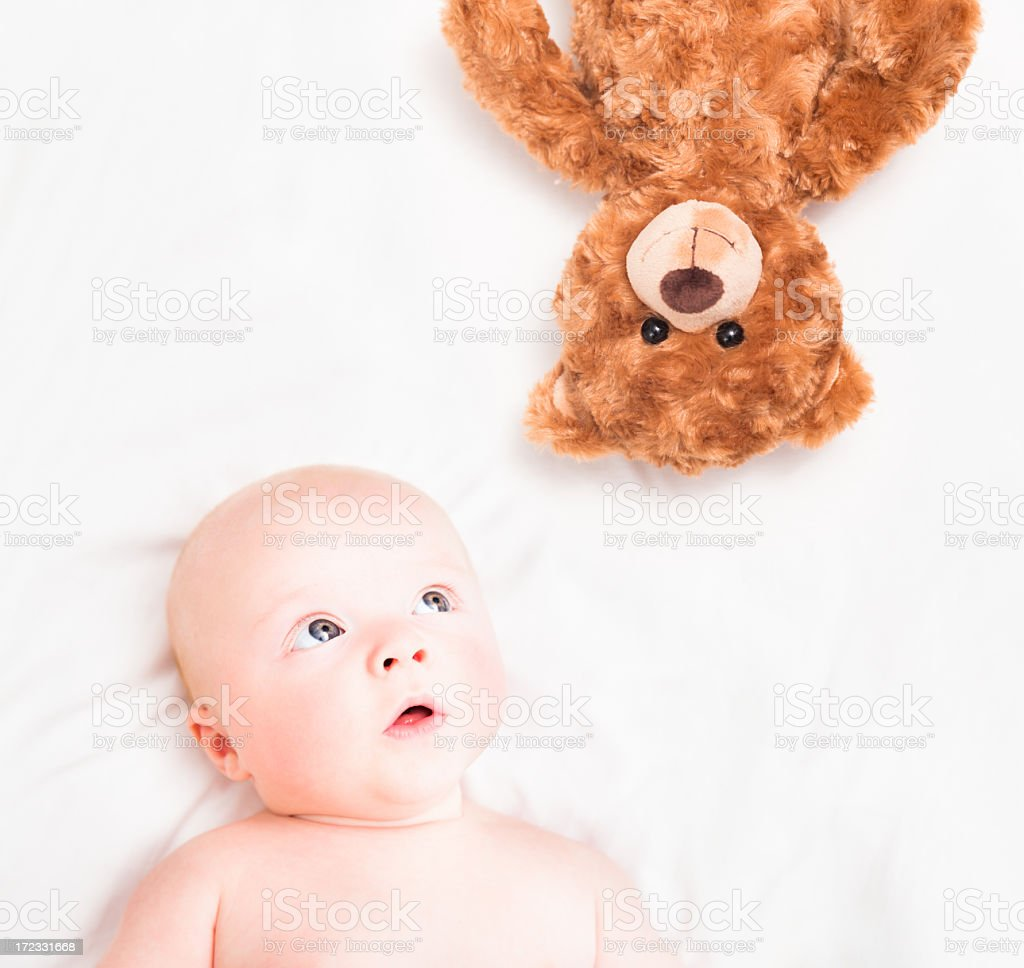 Best Friends (Baby and Teddy Bear) royalty-free stock photo