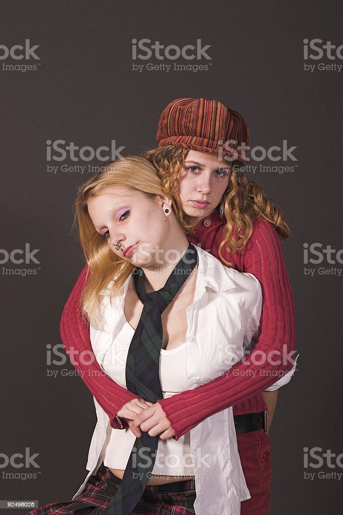 Best Friends serious royalty-free stock photo