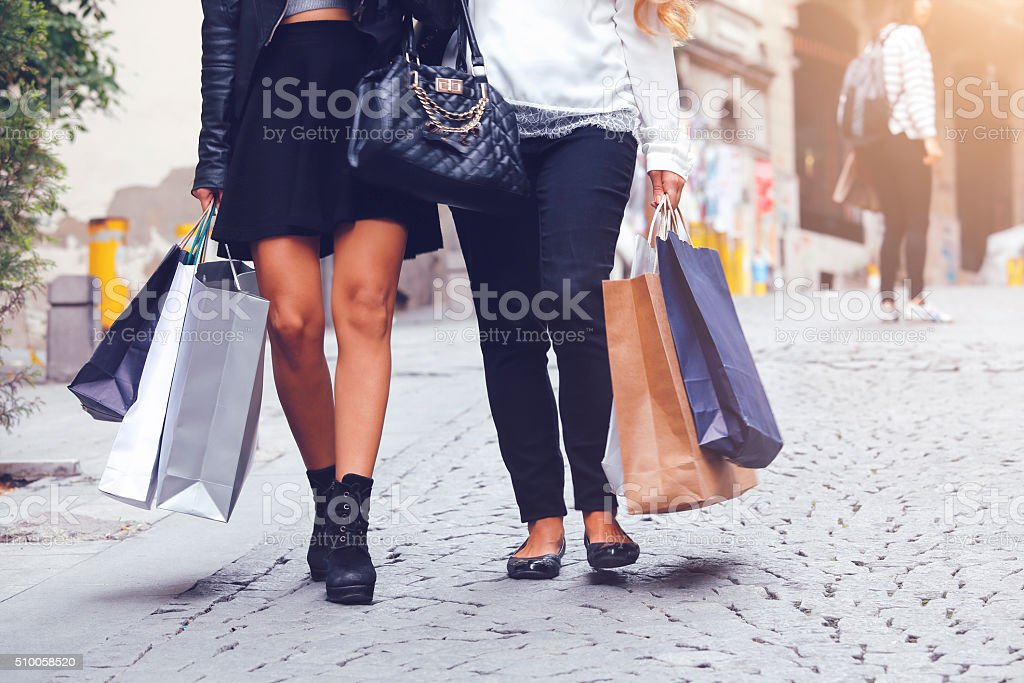 Best Friends Shopping stock photo