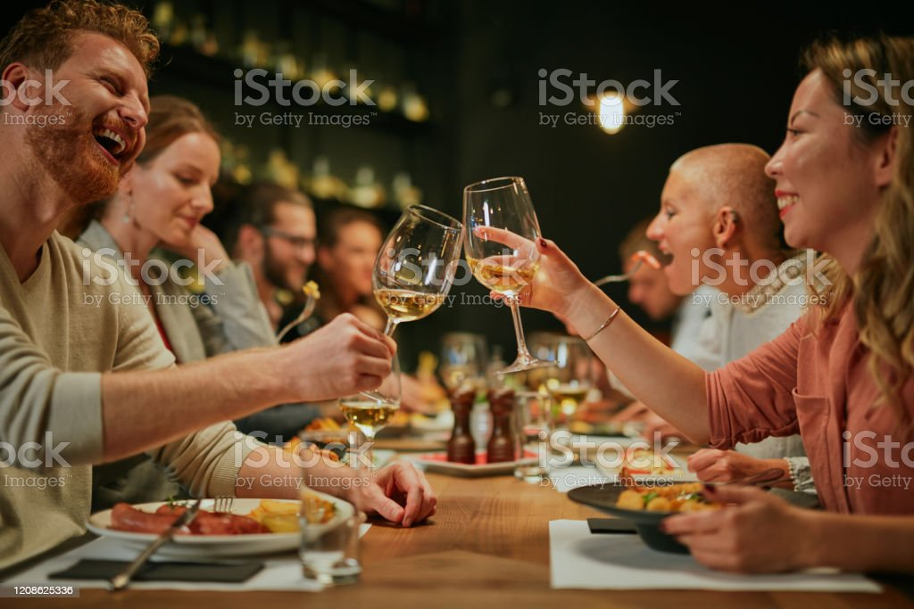 Best Friends Sitting In Restaurant For Dinner And Making A Toast With White Wine On Table Is Food Stock Photo Download Image Now Istock