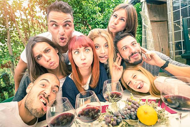 Cтоковое фото Best friends taking selfie outdoor at winery tasting wine