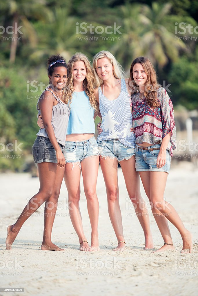 Best Friends Traveling, Lifestyle Fashion at the Beach stock photo