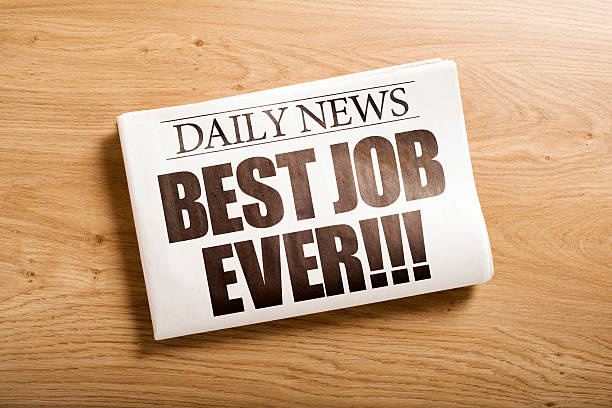 best job ever custom made newspaper on the table front page stock pictures, royalty-free photos & images