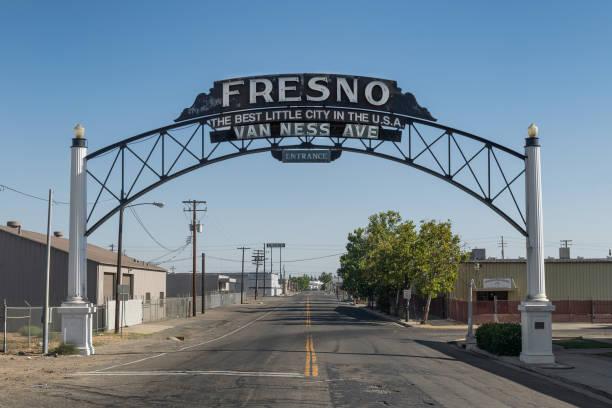 Best Little City sign on Van Ness Street in Fresno stock photo