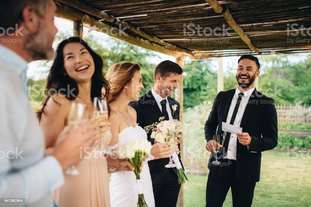 Best man speech for newlywed couple stock photo