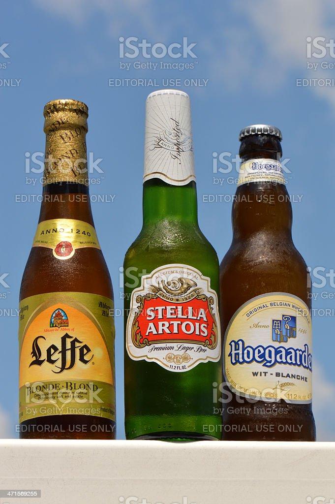 Best of Belgium Stella Artois, Leffe & Hoegaarden Beer stock photo