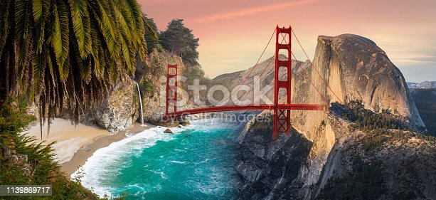 A composition of 3 iconic Northern California landmarks: McWay falls in Big Sur, the Golden Gate Bridge, and Half Dome in the Yosemite National Park.