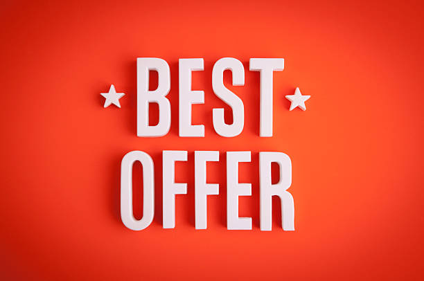 Best Offer sign lettering stock photo