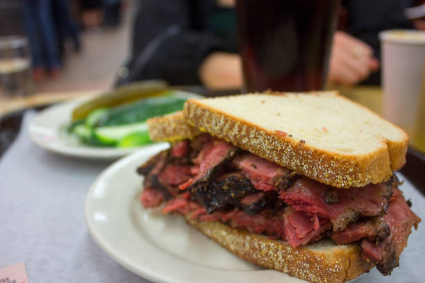 best pastrami sandwich - pastrami stock pictures, royalty-free photos & images