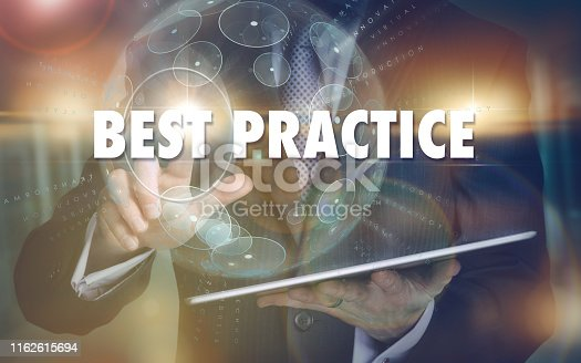 istock Best Practice business concept on a futuristic computer display. 1162615694