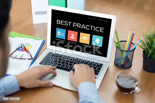 istock Best Practice Concept on Laptop Screen 698190048