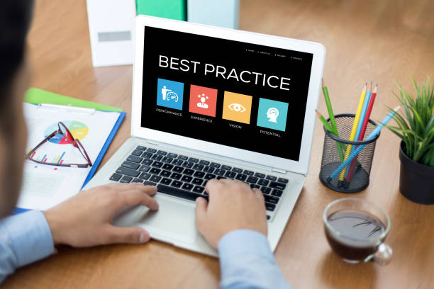 Best Practice Concept on Laptop Screen stock photo
