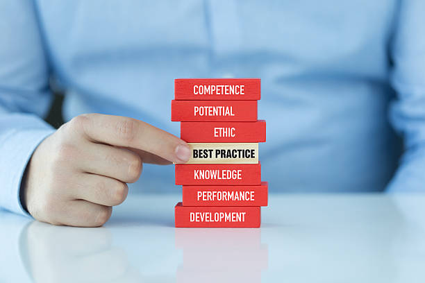 best practice concept with related keywords on wooden blocks - practising stock photos and pictures